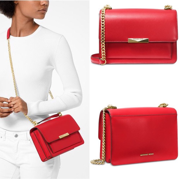 a4c318fa60fd MICHAEL Michael Kors Bags | Michael Kors Jade Leather Red Gusset ...